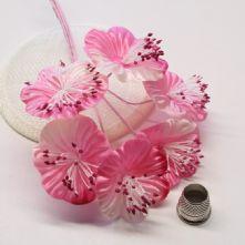 Vintage Cerise Pink Satin Blossoms x6